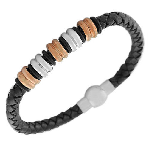 Stainless Steel Black PU Leather Two-Tone Braided Mens Bracelet