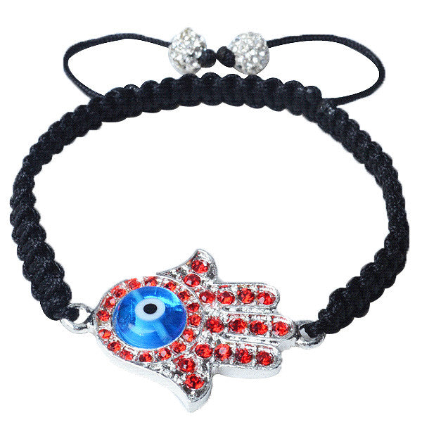 Red CZ Blue Silver-Tone Adjustable Evil Eye Hamsa Beaded Bracelet