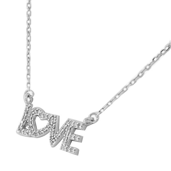 Sterling Silver Love Heart Charm White CZ Womens Pendant Necklace