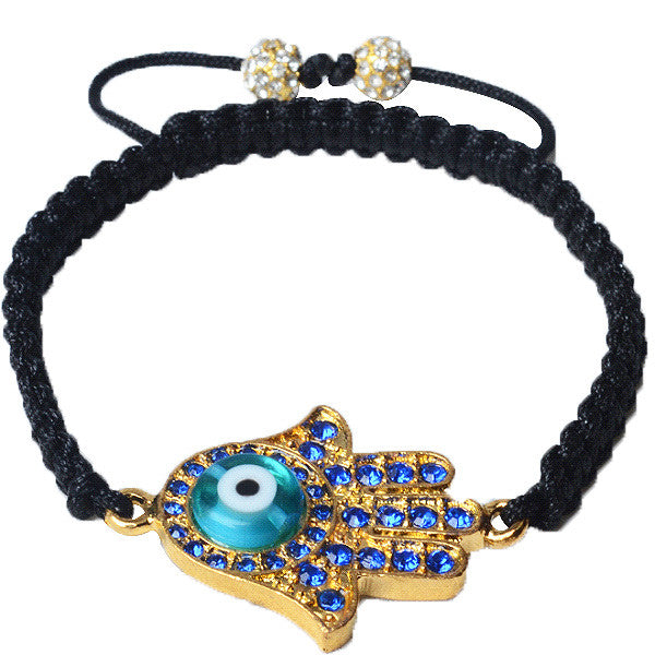 Blue CZ Yellow Gold-Tone Adjustable Evil Eye Hamsa Beaded Bracelet