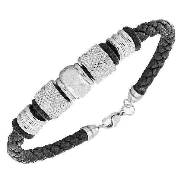 Stainless Steel Black Leather Silver-Tone Mens  Bracelet with Clasp
