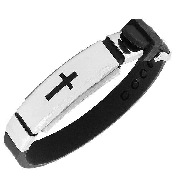 Stainless Steel Black Rubber Silicone Silver-Tone Latin Cross Mens  Bracelet