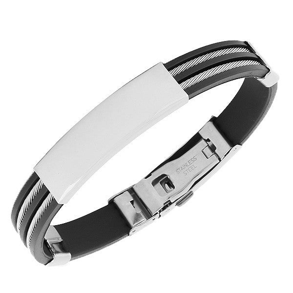 Stainless Steel Black Rubber Silicone Silver-Tone Name Tag Mens Bracelet