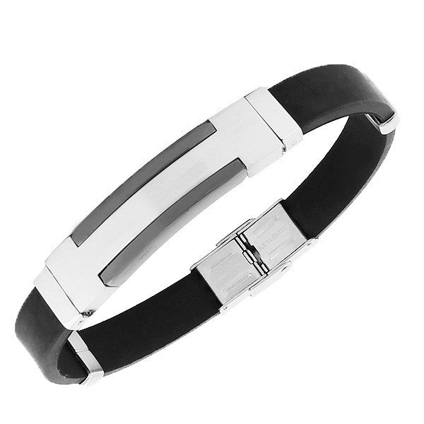 Stainless Steel Black Rubber Silicone Two-Tone Mens Bracelet