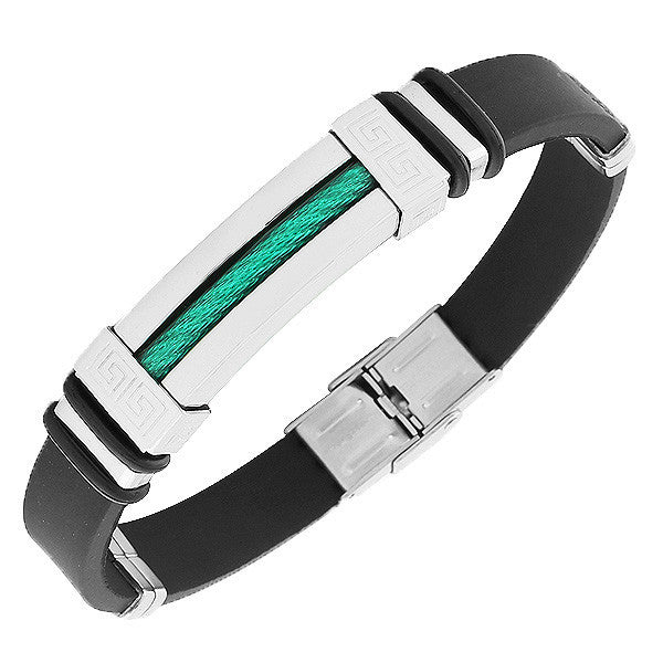 Stainless Steel Black Rubber Silicone Silver-Tone Green Greek Key Mens  Bracelet