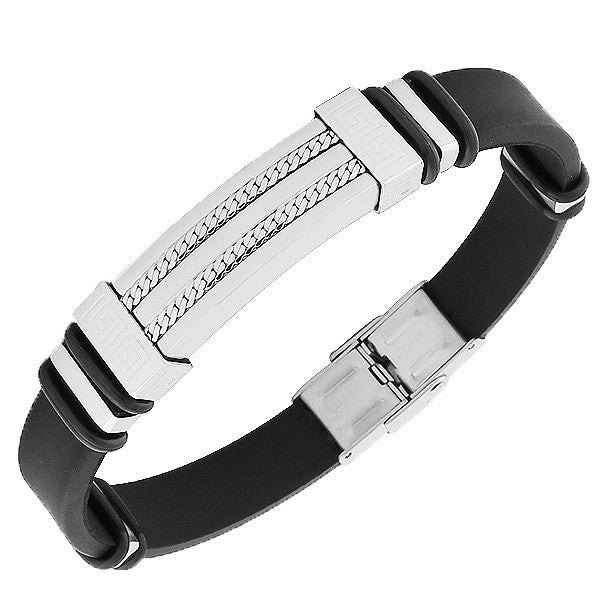 Stainless Steel Black Rubber Silicone Silver-Tone Greek Key Chain Mens  Bracelet