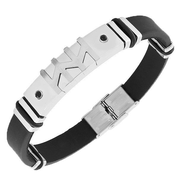 Stainless Steel Black Rubber Silicone Silver-Tone Black CZ Mens Bracelet