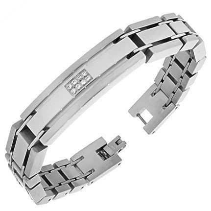 Stainless Steel Silver-Tone Link Chain White Round CZ Mens Bracelet