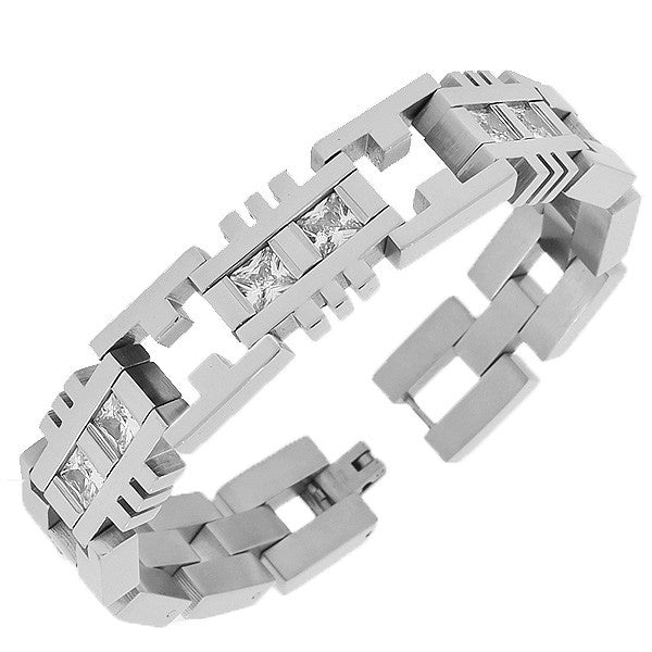 Stainless Steel Silver-Tone Link Chain White Square Princess-Cut CZ Mens Bracelet