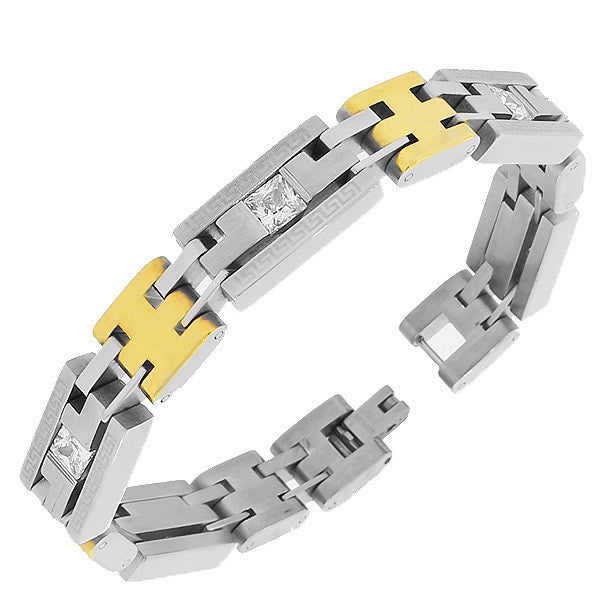 Stainless Steel Two-Tone Link Chain White Square Princess-Cut CZ Greek Key Mens Bracelet