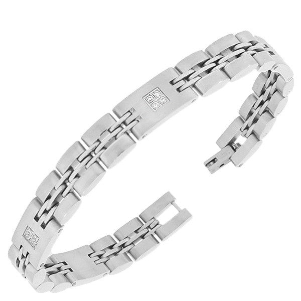 Stainless Steel Silver-Tone Link Chain White Round CZ Mens Bracelet with Clasp