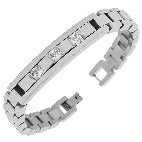 Stainless Steel Silver-Tone Link Chain White Square Princess-Cut CZ Mens Bracelet with Clasp