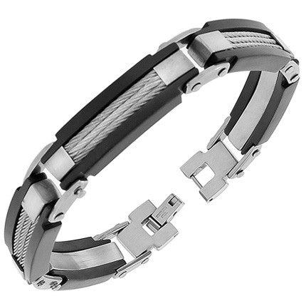 Stainless Steel Silver Black Two-Tone Twisted Cable Rope Link Chain Mens Bracelet with Clasp
