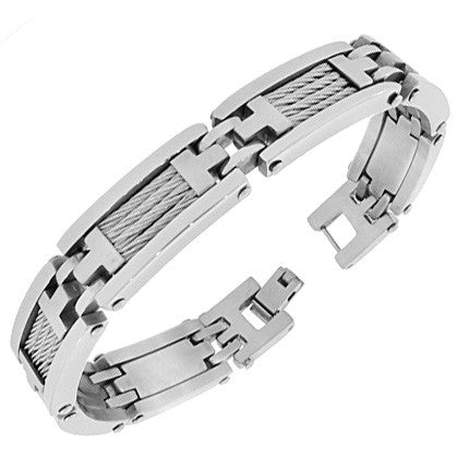 Stainless Steel Silver-Tone Twisted Cable Rope Link Chain Mens Bracelet with Clasp