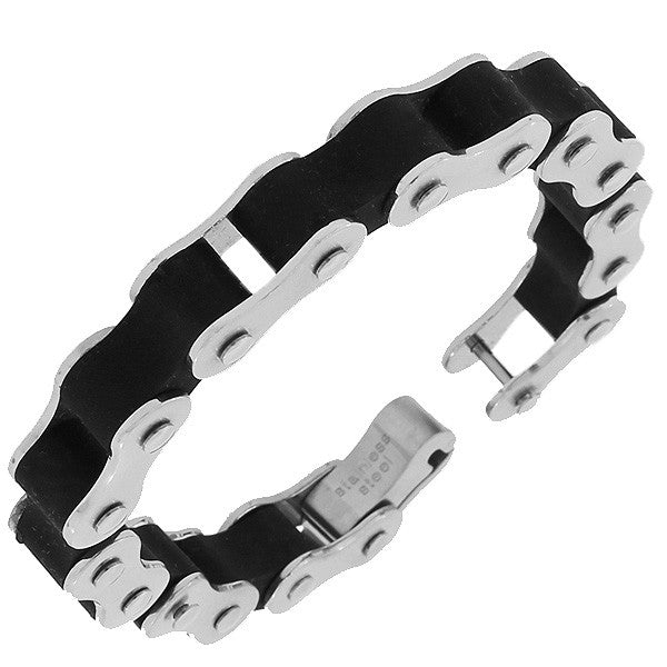 Stainless Steel Rubber Silicone Silver Black Two-Tone Bike Chain Thick Link Chain Mens Bracelet