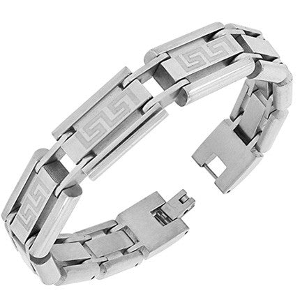 Stainless Steel Silver-Tone Greek Key Link Chain Mens Bracelet with Clasp