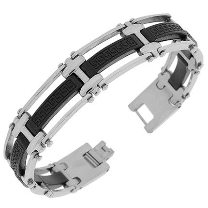 Stainless Steel Rubber Silicone Black Silver-Tone Greek Key Link Chain Mens Bracelet