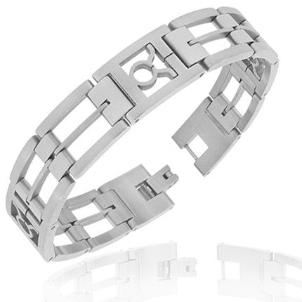 Stainless Steel Silver-Tone Link Chain Zodiac Sign Taurus Mens Bracelet with Clasp
