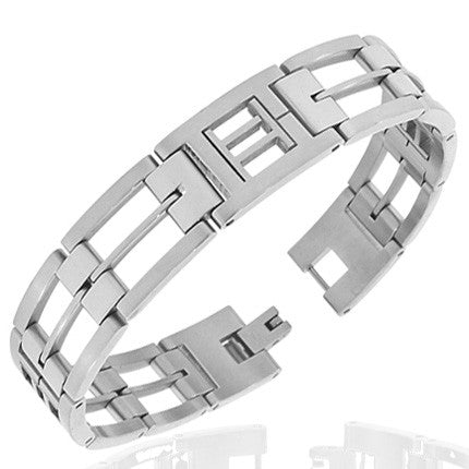 Stainless Steel Silver-Tone Link Chain Zodiac Sign Gemini Mens Bracelet with Clasp