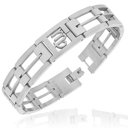 Stainless Steel Silver-Tone Link Chain Zodiac Sign Virgo Mens Bracelet with Clasp