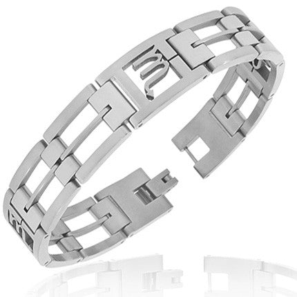 Stainless Steel Silver-Tone Link Chain Zodiac Sign Scorpio Mens Bracelet with Clasp