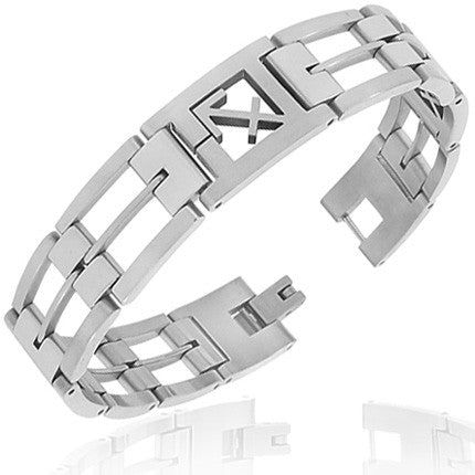 Stainless Steel Silver-Tone Link Chain Zodiac Sign Sagittarius Mens Bracelet with Clasp
