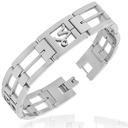 Stainless Steel Silver-Tone Link Chain Zodiac Sign Capricorn Mens Bracelet with Clasp