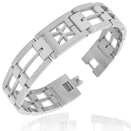 Stainless Steel Silver-Tone Link Chain Zodiac Sign Pisces Mens Bracelet with Clasp