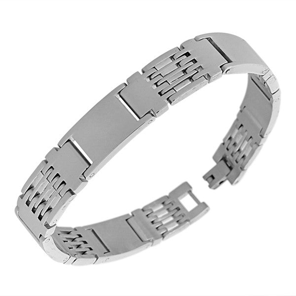 Stainless Steel Silver-Tone Link Chain Mens Bracelet with Clasp