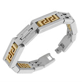 Stainless Steel Two-Tone Greek Key Link Chain Mens Bracelet with Clasp