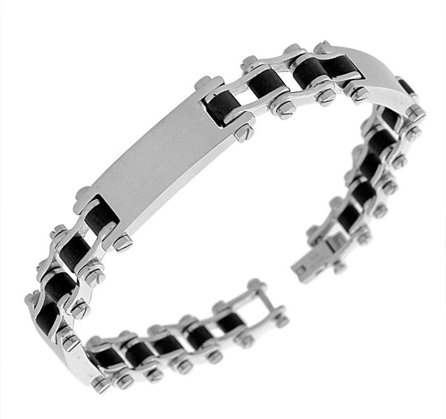 Stainless Steel Silver-Tone Black Rubber Silicone Link Chain Mens Bracelet
