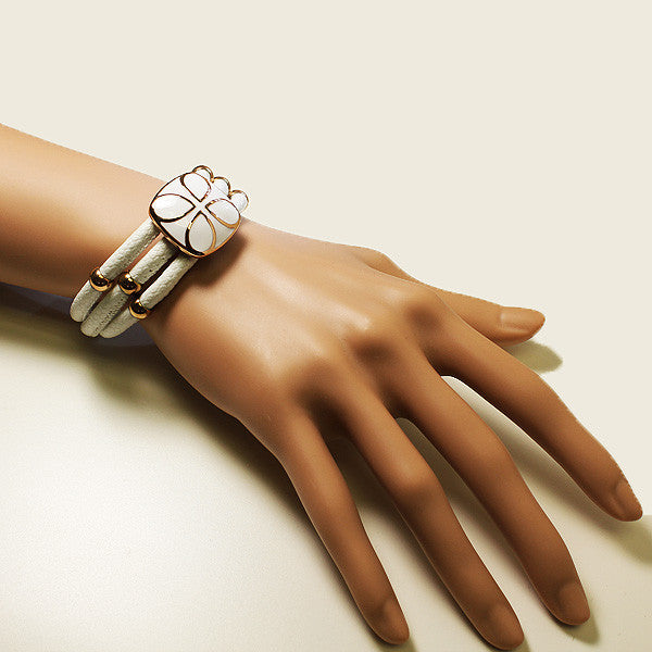 Leather Rose White Band