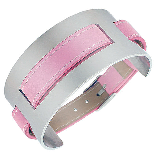 Pink Faux PU Leather Stainless Steel Silver-Tone Wristband Womens Wrap Bracelet