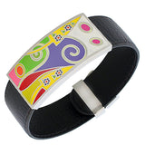 Black Faux PU Leather Silver-Tone Multicolor Open End Cuff  Womens Bracelet