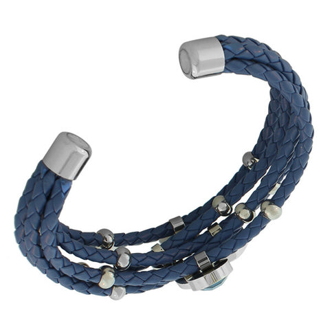 Fashion Alloy Blue Faux PU Leather Silver-Tone CZ Love Heart Multi-Row Layer Bracelet