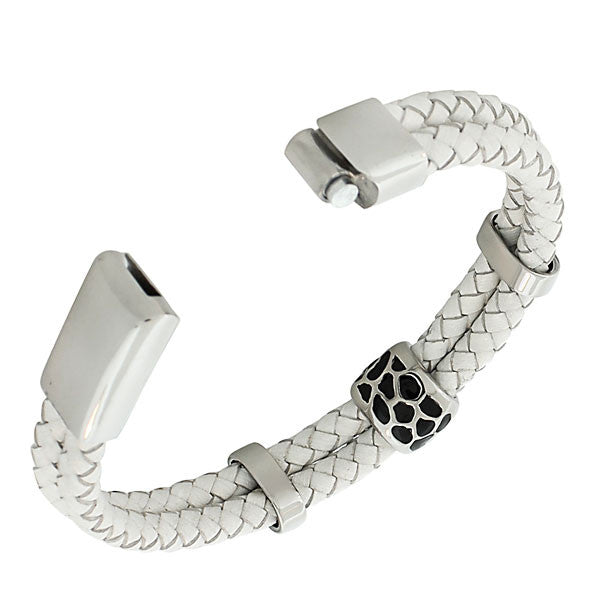 White Stones Leather Band
