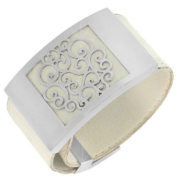 Stainless Steel White Faux PU Leather Silver-Tone Open End Cuff  Womens Bracelet