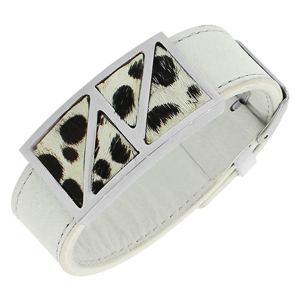 Stainless Steel White Faux Leather Silver-Tone Animal Print Leopard Womens Bracelet