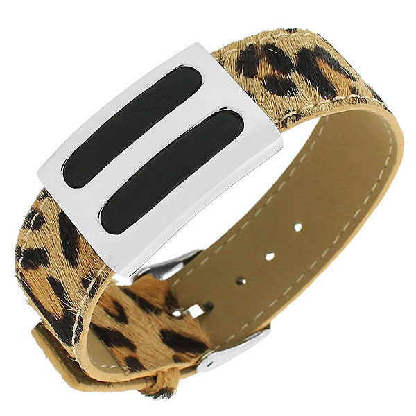Stainless Steel Multicolor Faux Leather Silver-Tone Animal Print Leopard Womens Bracelet