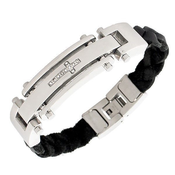 Stainless Steel Black PU Leather Silver-Tone White CZ Religious Cross Mens Bracelet