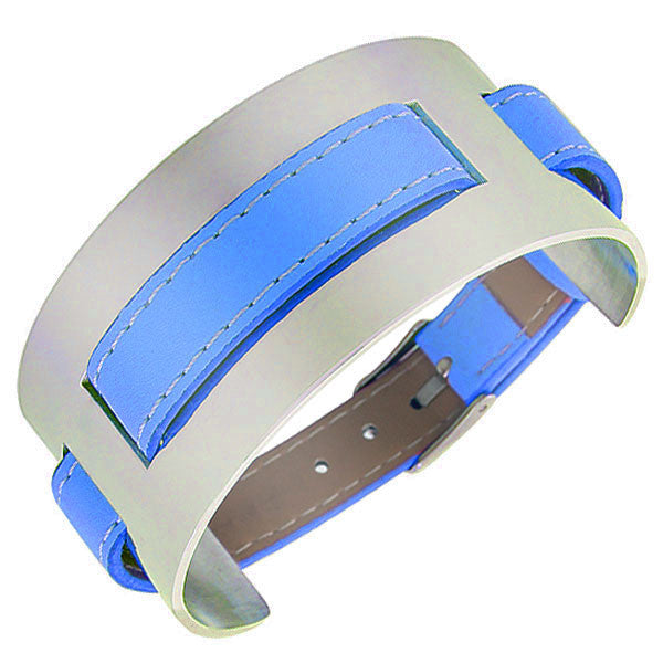 Blue Faux Leather Stainless Steel Silver-Tone Wristband Womens Wrap Bracelet