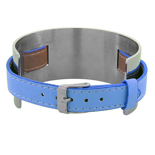 Blue Leather Silver Band
