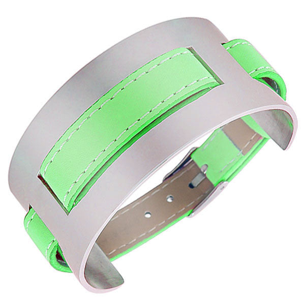 Green Faux Leather Stainless Steel Silver-Tone Wristband Womens Wrap Bracelet