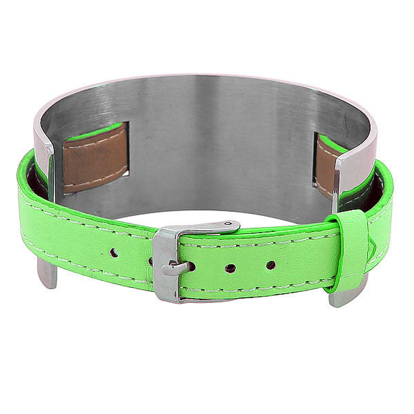 Green Leather Silver Band