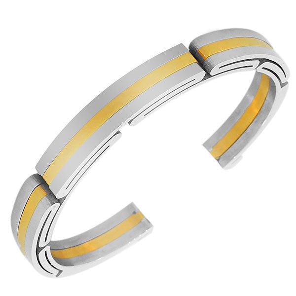 Stainless Steel Two-Tone Womens Mens Open End  Bracelet