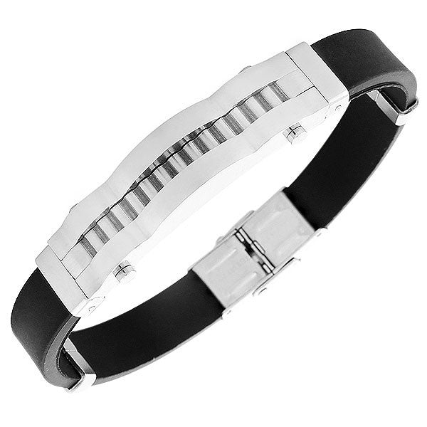Stainless Steel Black Rubber Silicone Silver-Tone Mens  Bracelet