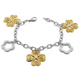 Stainless Steel Two-Tone Womens Links Chain Flowers Floral Bracelet