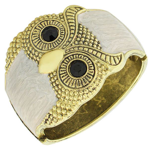 Fashion Yellow Gold-Tone White Enamel Black CZ Wide Owl Womens Cuff  Bracelet