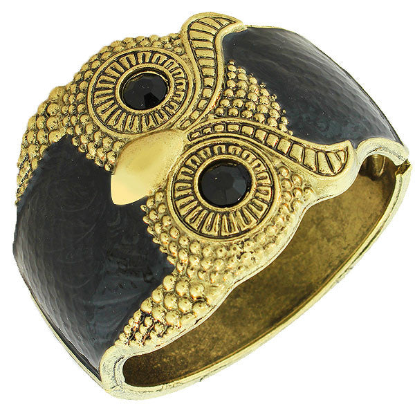 Fashion Black Gold-Tone White Enamel Black CZ Wide Owl Womens Cuff  Bracelet