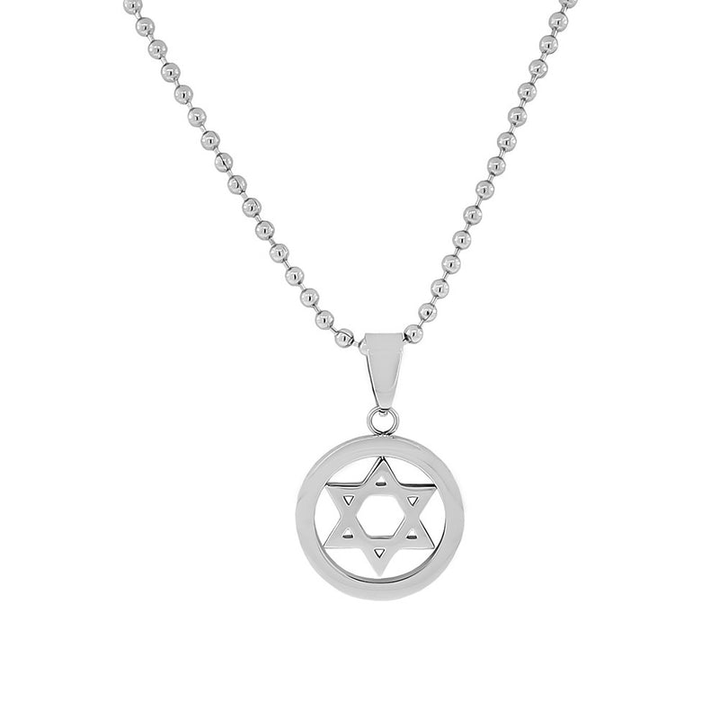 Stainless Steel Silver-Tone Classic Jewish Star of David Mens Boys Pendant Necklace